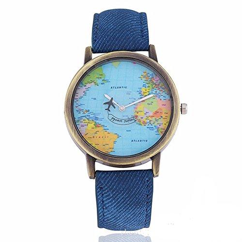 Fenkoo orologi donna aereo Mappa del mondo retro Roma orologio al quarzo  guardando la usato il f2ff9bed29d