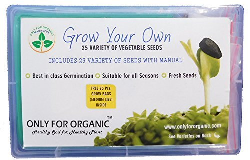 Only For Organic 25 Variety Of Vegetable Seeds With 25 Grow Bags 51eywL4Bx6L