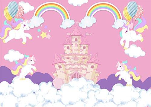 YongFoto 1,5x1m Fondo de Fotografia Unicornio Dibujos Animados Soñador Castillo Arcoiris Globos Telón de Fondo Cumpleaños Fiesta Baby Shower Niños Bebé Chicas Bandera Estudio fotográfico Accesorios