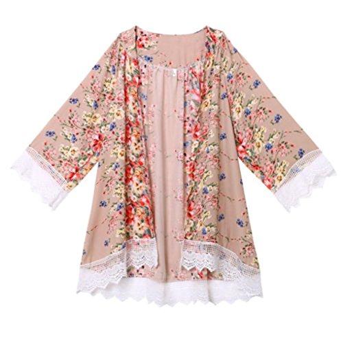 Zolimx Frauen Chiffon Printed Schal Kimono Cardigan Tops Cover Up Bluse (S) (Häkeln Perlen Tank-top)