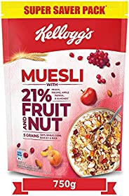 Kellogg's Muesli 21% Fruit and Nut | Breakfast Cereal | High in Iron| Source of Fibre | Naturally Choleste