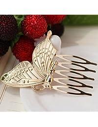 Elenxs Ornamento de Las Mujeres de la aleación de la Mariposa del Peine del Pelo de la Horquilla de Clip Principal de