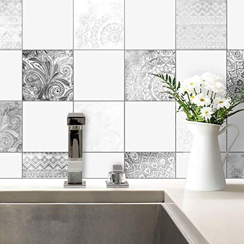 Fliesenaufkleber Bohemian Fliesen Sticker Aufkleber selbstklebend Kacheln Bad Küche Wanddeko Ornament schwarz-weiß Wall-Art - 20x20 cm - 10-er Set (K Ornament)