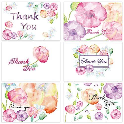mit Blumen-Motiv, blanko, für Hochzeit, Baby, Brautparty, Abschlussfeier, Geschäftsjahr, 48 Stück, 10 x 15 cm, mit weißen Umschlägen ()