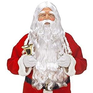 WIDMANN x1524Luxus Papá Noel Juego con de Pelo Peluca, máxima de Barba con Bigote y Cejas, Color Blanco