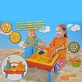 DRULINE Sand und Wasser Spieltisch Spielzeug Sandspieltisch Wasserspieltisch Gelb (15-tlg)