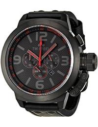 TW Steel TW903 - Reloj cronógrafo de cuarzo unisex con correa de piel, color negro