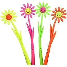 Da.Wa 12 pcs Planta de Flor Forma de Bolígrafo pluma Creativa del Bolígrafo Papelería Efectos de Escritorio Office Study de Manera Pluma de la Escritura Regalo de los Niños