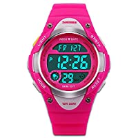 Children's Watches Sport Watch Fashion Wrist Watch Stop Watch EL Backlight Function Time Teacher Silicon Strap Boys Girls Watch-Red