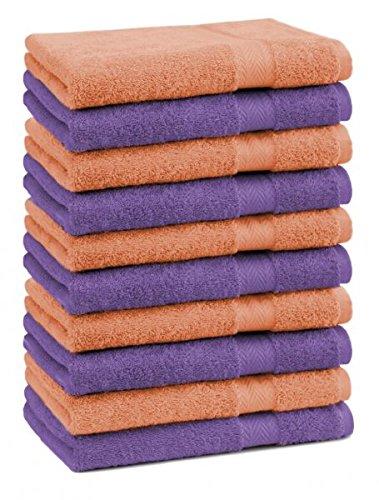 Betz Lot de 10 serviettes débarbouillettes lavettes taille 30x30 cm en 100% coton Premium couleur orange et violet