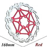 CricTeQleap Fahrradzubeh?r, 160/180 / 203mm MTB Rennrad Metall Float Scheibenbremse Bremsscheiben Fahrradteile - Rot 160mm