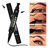 Wing Eyeliner Stempel, Leegoal 2 In 1 Waterproof Eye Wing Stamp Wingliner By Vogue Effects Black, Smudgeproof, Winged Long Lasting Liquid Eye Liner Pen, Vamp Style Wing Cat-Eyes,Smokey Make-Up