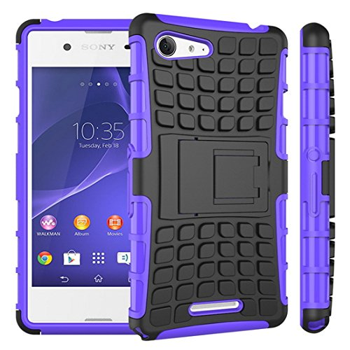 Heartly Flip Kick Stand Spider Hard Dual Rugged Armor Hybrid Bumper Back Case Cover For Sony Xperia E3 and E3 Dual Sim D2203 - Frame Purple