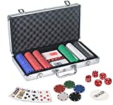 WISHKEY 300 pcs Casino Style Poker Chips Set with a Heavy Duty Aluminum