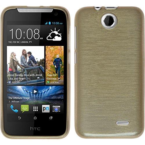 PhoneNatic Case für HTC Desire 310 Hülle Silikon gold brushed Cover Desire 310 Tasche + 2 Schutzfolien
