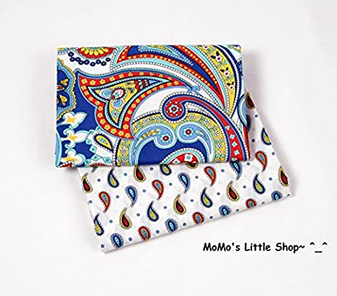 Quality 100% Cotton Fabric (Funky Blue/Red/Yellow Paisleys on White Fabric) —— 2 Fat Quarters ——