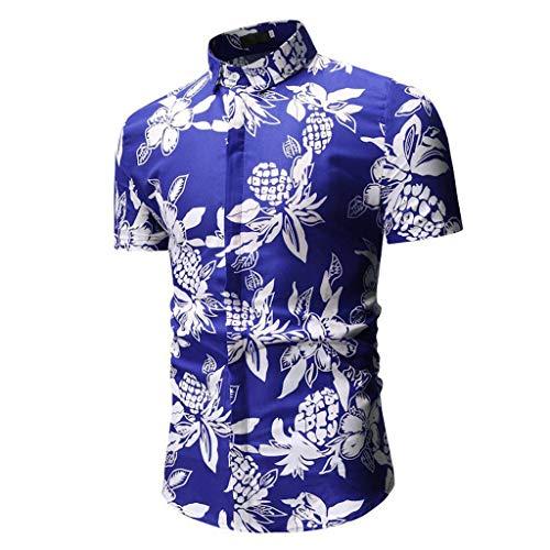 Beikoard Camicia da Uomo Colorate a Righe Camicia da Uomo Hawaiana Floreale Classica Casual a Maniche Corte Slim Fit(Blu,XL)