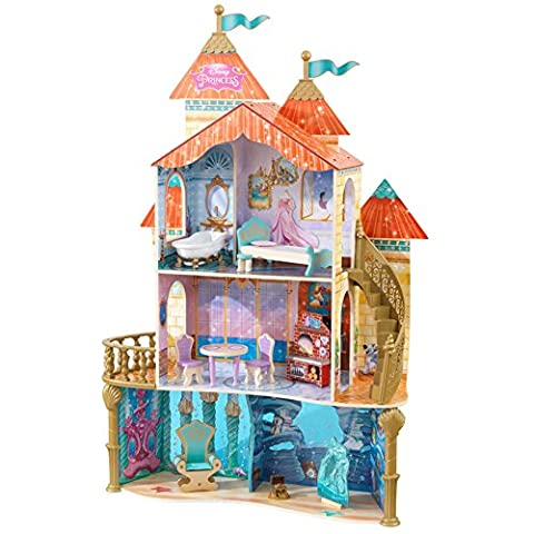 KidKraft 5 Feet 3 Levels Battery Operated Disney Princess Ariel Undersea Kingdom Wooden Dollhouse with 20 Pieces of Furniture for Kids 3 Years