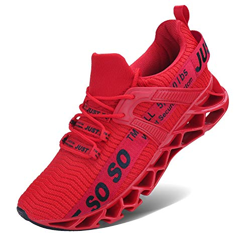 Wonesion Herren Fitness Laufschuhe Atmungsaktiv Rutschfeste Mode Sneaker Sportschuhe, ,, 6-rot2, 47 EU