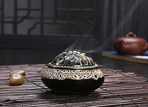 Vintage BXT-Bruciatore per incenso, in ceramica, decorazione intagliata-Supporto per incenso, a spirale conica, Light Grey-A, W 10CM * H 7.2CM, Opening diameter