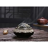 Vintage BXT-Bruciatore per incenso, in ceramica, decorazione intagliata-Supporto per incenso, a spirale conica, Light Grey-A, W 10CM * H 7.2CM, Opening diameter 7.4CM