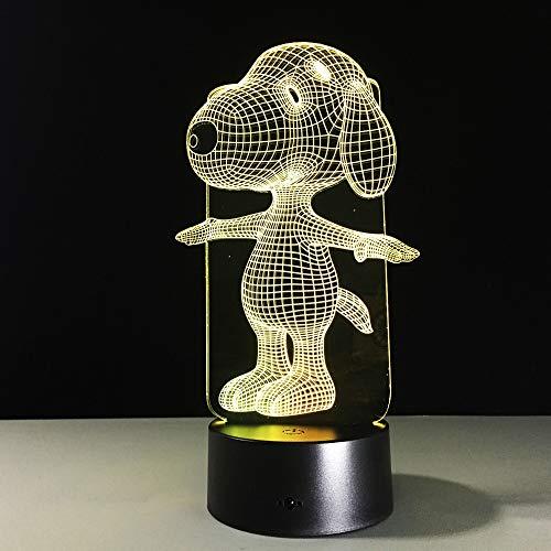 3D LED Night Light Cartoon Snoopy Dog 3D Illusion 7 Couleur LED Lampe de Table Chambre de Bébé Chambre Enfants Chevet Éclairage de Coucher (Dekorationen Geburtstag Snoopy)