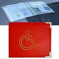 Disabled Badge Holder PU Leather with Metal Corner Hologram Safe Parking Permit Display 16.5 x 13.5 cm - Red