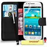 Samsung Galaxy S3 Mini Premium Leather Black Wallet Flip Case Cover Pouch + Big Touch Stylus Pen + RED 2 IN 1 Dust Stopper + Screen Protector & Polishing Cloth SVL2 BY SHUKAN®, (WALLET BLACK)