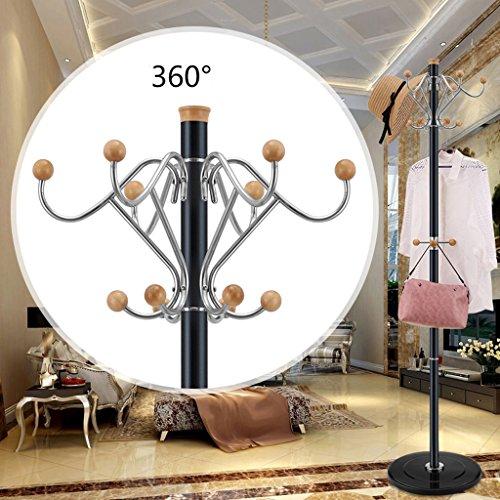 SKC Lighting-Porte-manteau Porte-manteau en acier inoxydable Revêtement en mousseline de soie Ensemble de vêtements de chambre simple Salon de crémaillère Cretiment (Couleur : Noir)