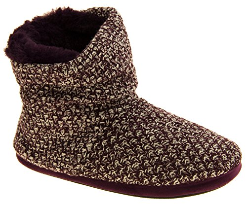 Damen Kühler warme gestrickte Winterfell gefütterte Stiefel Slipper Plum