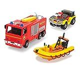 DICKIE Toys 203099629401 - Feuerwehrmann Sam dreiteiliges Fahrzeug Set Test