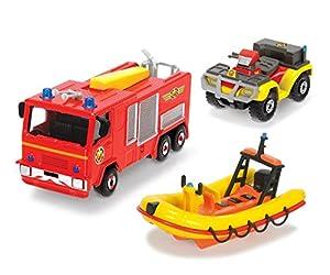 Dickie Toys 203099629401-Set de 3 vehículos de Bomberos de Juguete