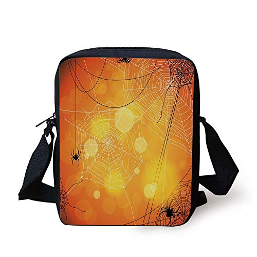 ders Arachnid Insects Cobweb Thread Trap on Abstract Bokeh Backdrop Decorative,Orange Yellow White Print Kids Crossbody Messenger Bag Purse ()