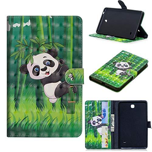 ShinyCase Samsung Galaxy Tab 4 7.0/SM-T230 T231 T235-Tablet Hülle, Slim Lightweight Schutzhülle 3D PU Leder Shell Cover Tasche Etui Panda Design Flip Case mit Auto Sleep/Wake up Funktion Ständer Panda-design Hard Case