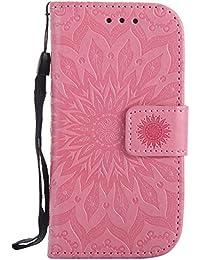 DENDICO Galaxy S4 Mini Hülle, Premium Leder Wallet Tasche Etui Sonnenblume Prägung Hülle mit Magnetverschluss, Flip Brieftasche Handy Schutzhülle für Samsung Galaxy S4 Mini - Rosa