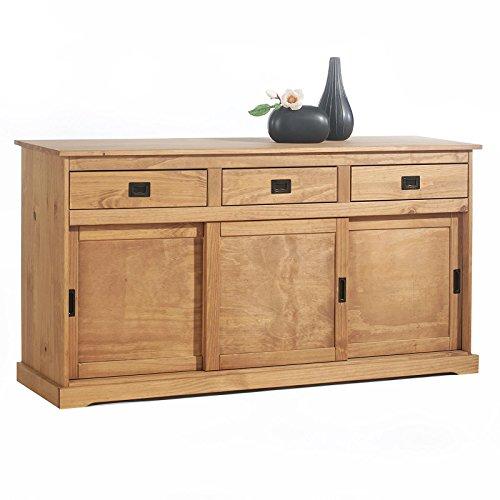 IDIMEX Buffet Savona bahut vaisselier Commode avec 3 tiroirs et 3 Portes coulissantes, en pin Massif lasuré Brun