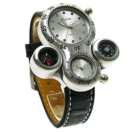OULM Herren Armbanduhr 2 Zeitzonen Thermometer und Kompass nur für Anzeige Man Armband Uhren Sport Watch Quartzuhr PU Leder Armband - Weiß Zifferblatt