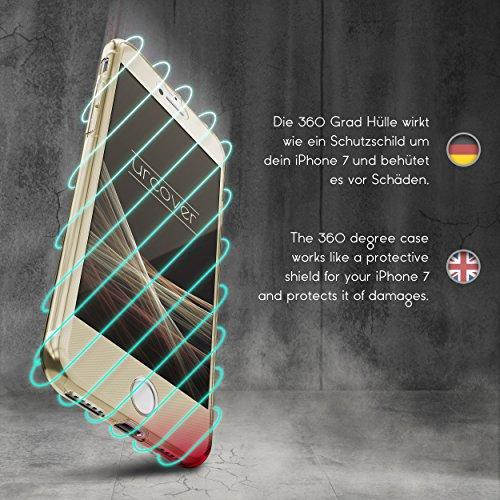 Urcover® Apple iPhone 7 4,7 Zoll | 360 Grad Hülle | TPU in Klar | Zuberhör Tasche Case Handy-Cover Rundum ultra dünn Schutz-Hülle slim Schale Champagner Gold