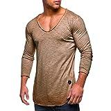 Herren Langarmshirt mit Rundhalskragen Longsleeve Slim Fit T-Shirt Basic Pullover Sweatshirt in Vielen Farben von Innerternet