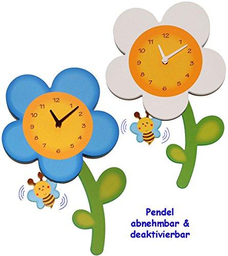 """3-D Effekt _ Wanduhr – """"blaue Blume mit Biene """" – sehr leise ! – 44 cm groß – Uhr aus Holz – Pendel abnehmbar – für Kinderzimmer & Wohnzimmer – Holzuhr – Blumenmotiv – blau / Kinderuhr – Analog – schleichende Sekunde – für Erwachsene & Kinder Jungen Mädchen – Blume – Blüte – Aracne – Pendeluhr / Pendelwanduhr – Design – modern / Designer – Retro / Wandbild & Wanddeko – Quarz – Quarzuhr – Blumenuhr / Babyuhr"""