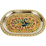 Balaji Arts Stainless Steel Handmade Golden Peacock Meenakari Design Decorative Serving Tray For Home