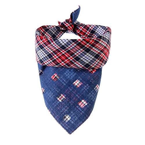 ZTMN Pullover Hund Haustier Dreieck Handtuch Hund Plaid Speichel Handtuch Denim Composite Positive und Negative kann verwendet Werden Haustier Schal. Kleidung für Hunde (Größe: S) (Gesicht Loch-halloween-kostüme Im)