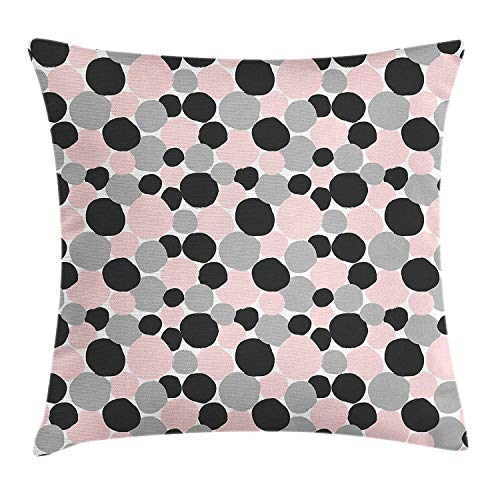 row Pillow Cushion Cover, Contemporary Style Hand Drawn Shapes Pattern with Varied Colors, Decorative Square Accent Pillow Case, 18 X 18 inches, Pale Pink Grey and Black ()