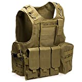 HUMTUS Taktischen Weste Brustschützer Armee Airsoft Weste Kampf Trainings CS Fans SWAT Tactical Weste Outdoor Fans CS Spiel Cosplay Weste des Counter Strike Spiel Jagd Weste (Khaki)