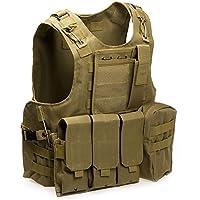 Chaleco de Policía Chaleco Táctico Militar al Aire Libre Juego de Guerra Airsoft Caza Tank Vest Molle Chaleco Combate Asalto Placa Camuflaje Chaleco de Portador para Camping Viaje Hiking (#3)