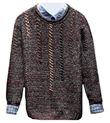 2463a87ded8b Vinyst Mens Woven Grain Juniors Retro Comfort Soft Sweater Tops Wine Red XL