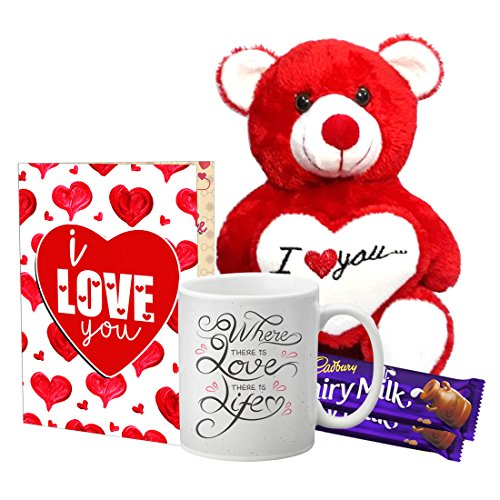 LOF Valentine Cute Teddy Gift, beautiful Red Teddy Combo For Girlfriend, Boyfiend,A4 Greeting With Mug Special Husband,Wife Valentine's Day Gift combo034