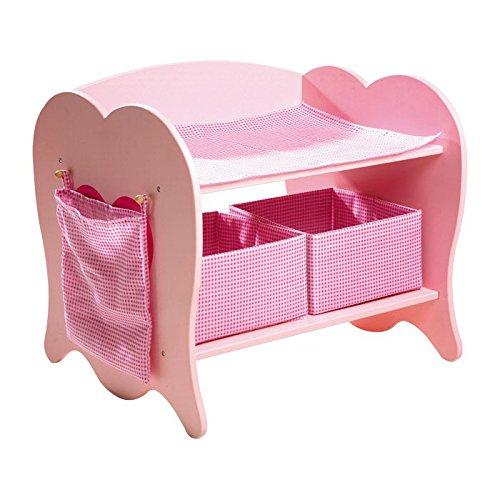 small foot 4724 Wickeltisch aus Holz, mit 2 Stoffkisten, einem Stoffbeutel und Decke, für Puppen bis 50 cm, ab 3 Jahren