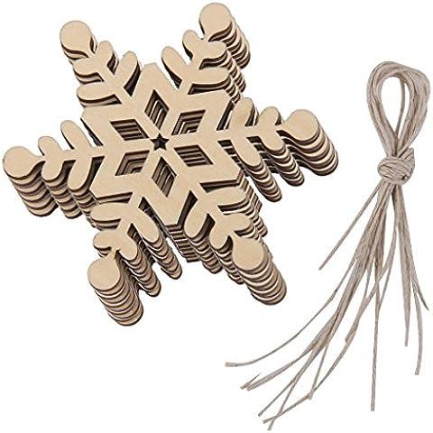 10pcs Adornos de Madera Forma Copo de Nieve Decoración Colgante para Navidad Hogar