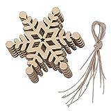 10pcs Christmas Hanging Ornaments Decoration Wooden Embellishments 8 x 8cm Hexagon Snowflake 01